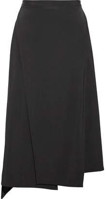 Asymmetric Wrap-effect Jersey Midi Skirt - Black