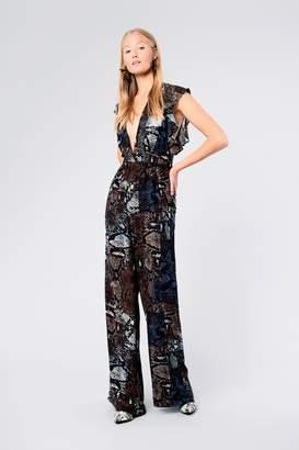 Glamorous Womens **Snake Print Ruffle Jumpsuit By Multi