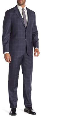 Hickey Freeman Charcoal Plaid Two Button Notch Lapel Wool Classic Fit Suit