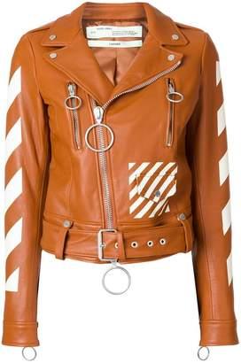 Off-White diagonals print biker jacket