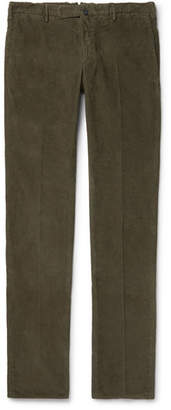 Incotex Slim-Fit Garment-Dyed Stretch-Cotton Corduroy Trousers - Men - Green