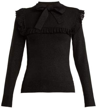 Joostricot - Ruffle Trimmed Tie Neck Stretch Knit Sweater - Womens - Black