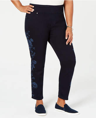 Style&Co. Style & Co Plus Size Cotton Pull-On Flower-Print Jeans, Created for Macy's