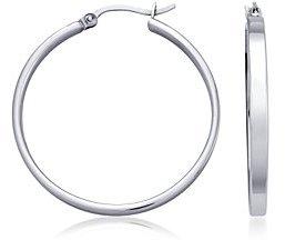 Flat Hoop Earrings in Sterling Silver (1 1/4
