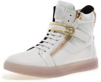 Jump J75 by Men's Zion Round Toe Rhinestone Strap Lace-up High-Top Sneaker Black