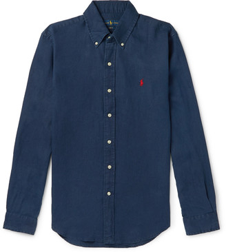 Polo Ralph Lauren Slim-Fit Button-Down Collar Linen Shirt - Men - Blue