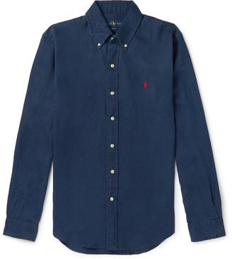 Polo Ralph Lauren Slim-Fit Button-Down Collar Linen Shirt - Men - Blue