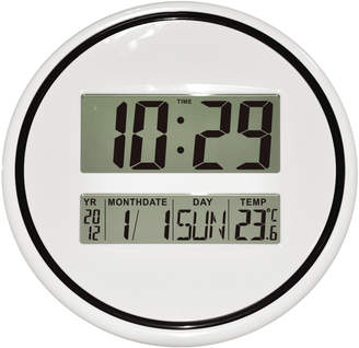 Pearl Time 35cm Round Monochrome Digital Wall Clock