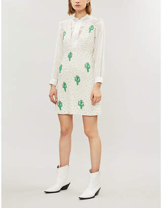 Ganni White and Black All-Over Cactus Pattern Merigold Sequinned Dress