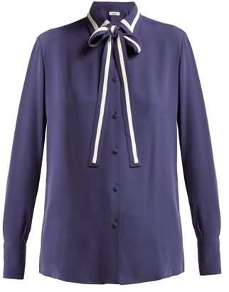 Valentino Striped Silk Georgette Blouse - Womens - Navy Multi