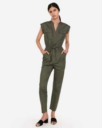 Express Button-Front Cotton Utility Jumpsuit