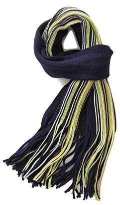 Fancy Stitch Women's Winter Color Block Strip Rib Knitted Wool Scarf