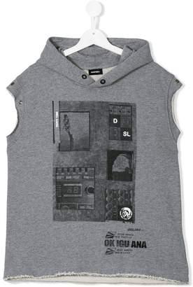Diesel Teen printed sleeveless hoodie