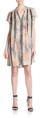 BCBGMAXAZRIALibby Printed Lace-Trim Dress
