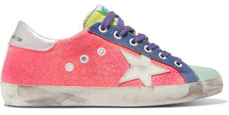 Golden Goose Superstar Glittered Distressed Canvas And Metallic Textured-leather Sneakers - Pink