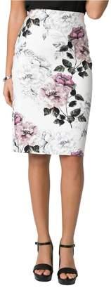 Le Château Women's Floral Print Ponte Pencil Skirt