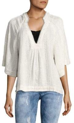 Free People Sequined Peasant Top
