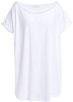 Faith Connexion Distressed Cotton-jersey T-shirt