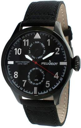 Peugeot Mens Black Strap Aviator Watch 2044BK