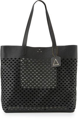 Kelsi Dagger Commuter Laser-Cut Leather Tote Bag, Black $170 thestylecure.com