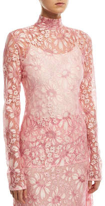 Calvin Klein Mock-Neck Long-Sleeve Sheer Lace Blouse