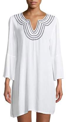Tommy Bahama Embroidered Bell-Sleeve Tunic Coverup