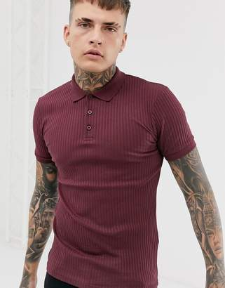 Asos Design DESIGN muscle fit polo in rib in burgundy