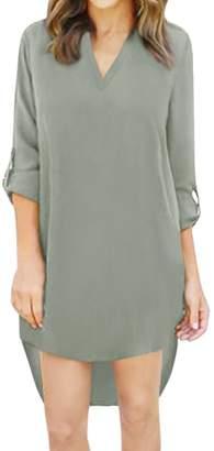 uxcell® Women V Neck Roll Up Sleeves High Low Hem Chiffon Mini Dress M Grey