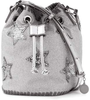 Stella McCartney Appliquéd glitter bucket bag