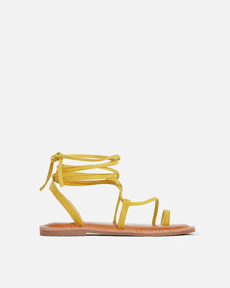 Express Faux Suede Toe Ring Lace-Up Sandals