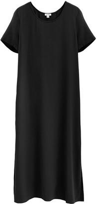 Silk Pleat-Back Tee Dress