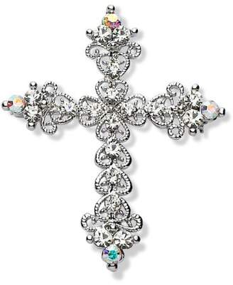 Jodie Rose Polished Silver Colour Metal Cross Brooch with Clear Crystals