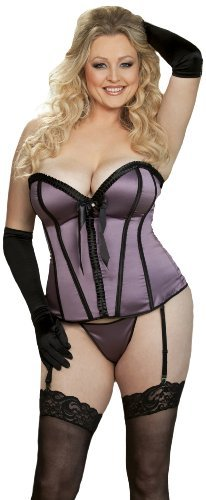 Shirley of Hollywood Womens Plus-Size Pleated Ribbon and Satin Corset
