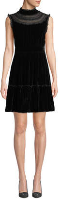 Kate Spade Sleeveless Velvet Lace-Trim Dress