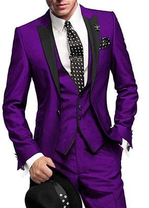 Pretygirl Men's 3 Piece Slim Fit One Button Groom Best Man Groomsmen Men Suit