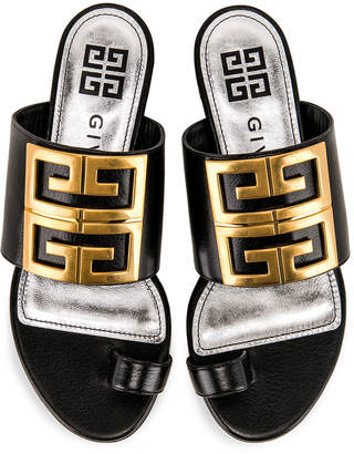 Givenchy Logo Flat Sandals in Black | FWRD