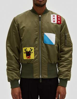 J.W.Anderson Satin Bomber Jacket w/ Crochet Patches