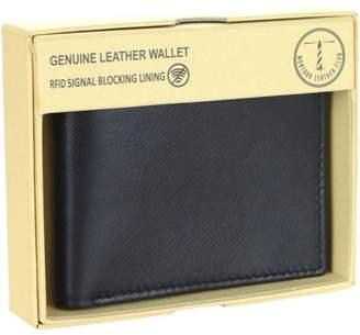 Montauk Leather Club Men's RFID Signal Blocking Genuine Leather Bi-Fold Wallet with Gift Box