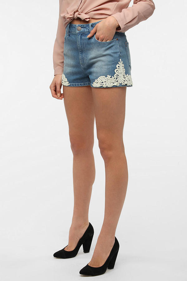 BDG Erin High-Rise Denim Short - Lace Embroidered