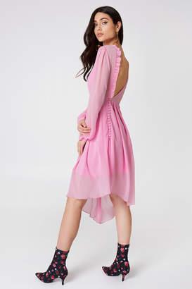 NA-KD Na Kd Asymmetric Cut Open Back Dress Light Pink