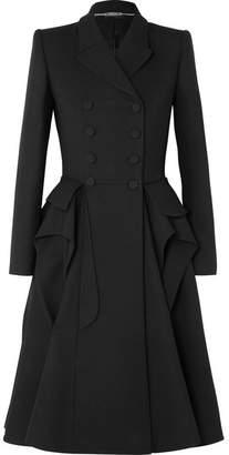 Alexander McQueen Ruffled Wool-blend Cady Coat - Black