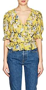 Icons Women's Ruffled Floral Wrap Top - Yellow