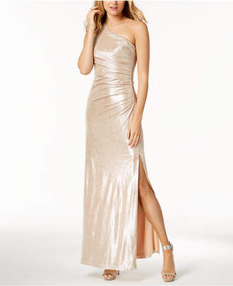 Calvin Klein Metallic Ruched One-Shoulder Gown