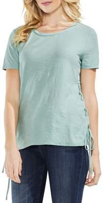 Vince Camuto Side Lace-Up Cotton Slub Top