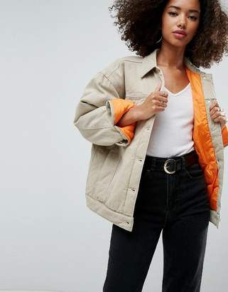 Asos Design Denim Wadded Jacket in Stone
