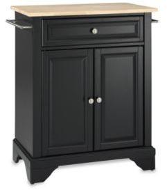 Crosley LaFayette Wood Top Portable Kitchen Island in Black
