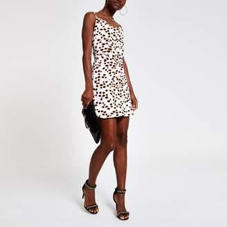 3a2470086a43e River Island Womens White spot cowl neck belted slip dress