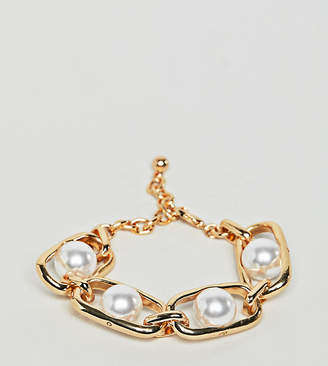 DesignB London chunky gold chain and pearl bracelet