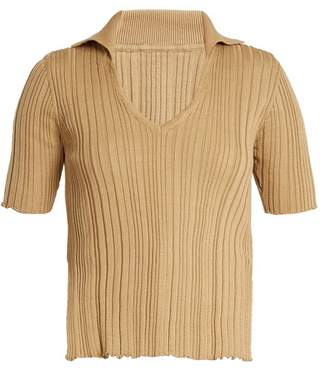 Jacquemus V Neck Ribbed Knit Cotton Top - Womens - Light Brown