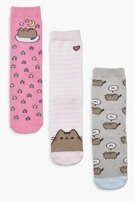 boohoo Pusheen 3 Pck Ankle Socks